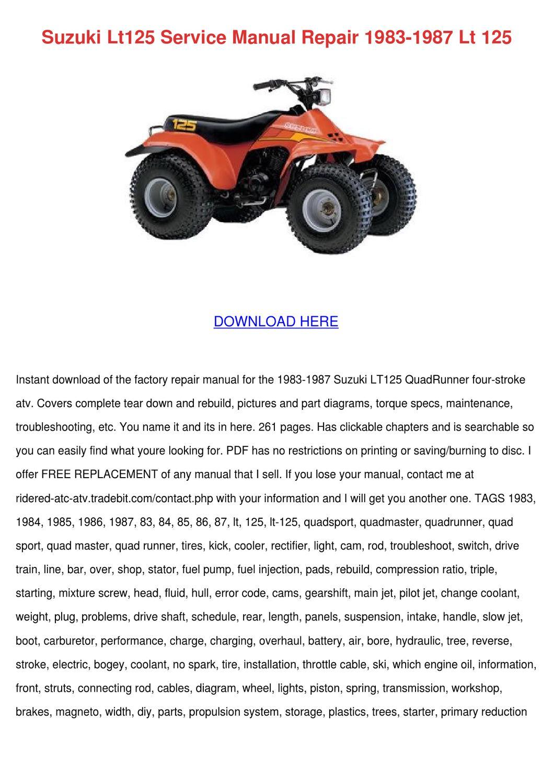 Suzuki Lt125 Service Manual Repair 1983 1987 by SamualNewkirk - issuu