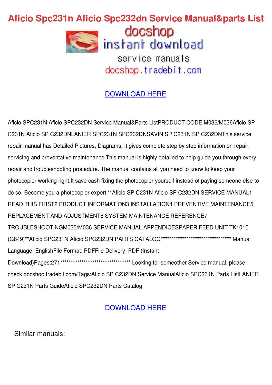 Aficio Spc231n Aficio Spc232dn Service Manual by