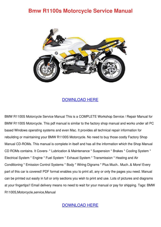 Bmw R1100s Motorcycle Service Manual by GeoffreyElias - issuu