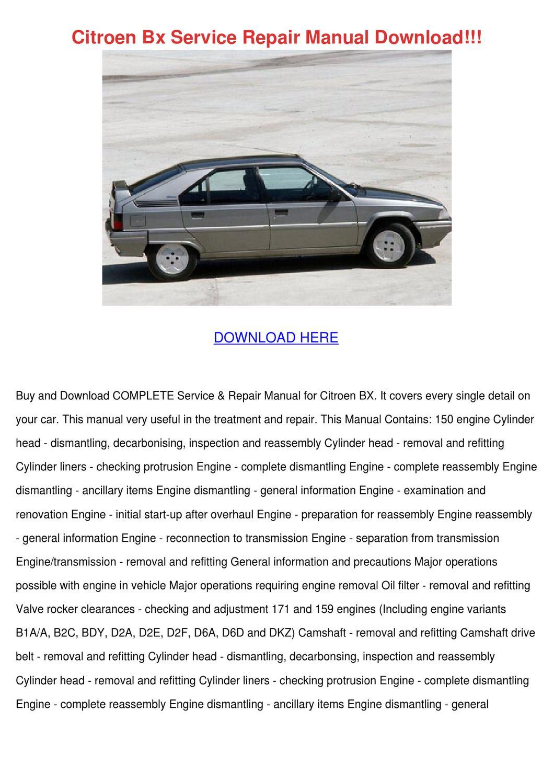 Citroen Bx Service Repair Manual Download by GeoffreyElias - issuu