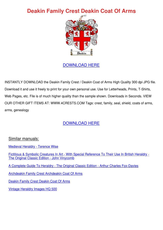 Deakin family crest deakin coat of arms by geoffreyelias issuu biocorpaavc Images