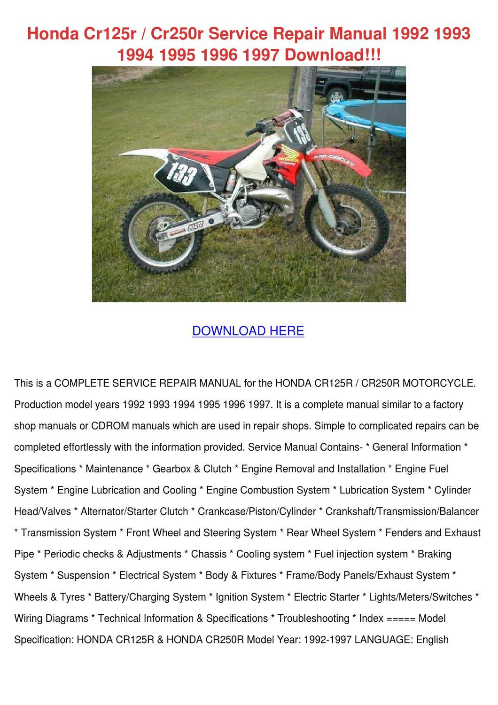 Honda Cr125r Cr250r Service Repair Manual 199 by GiuseppeDurr - issuu