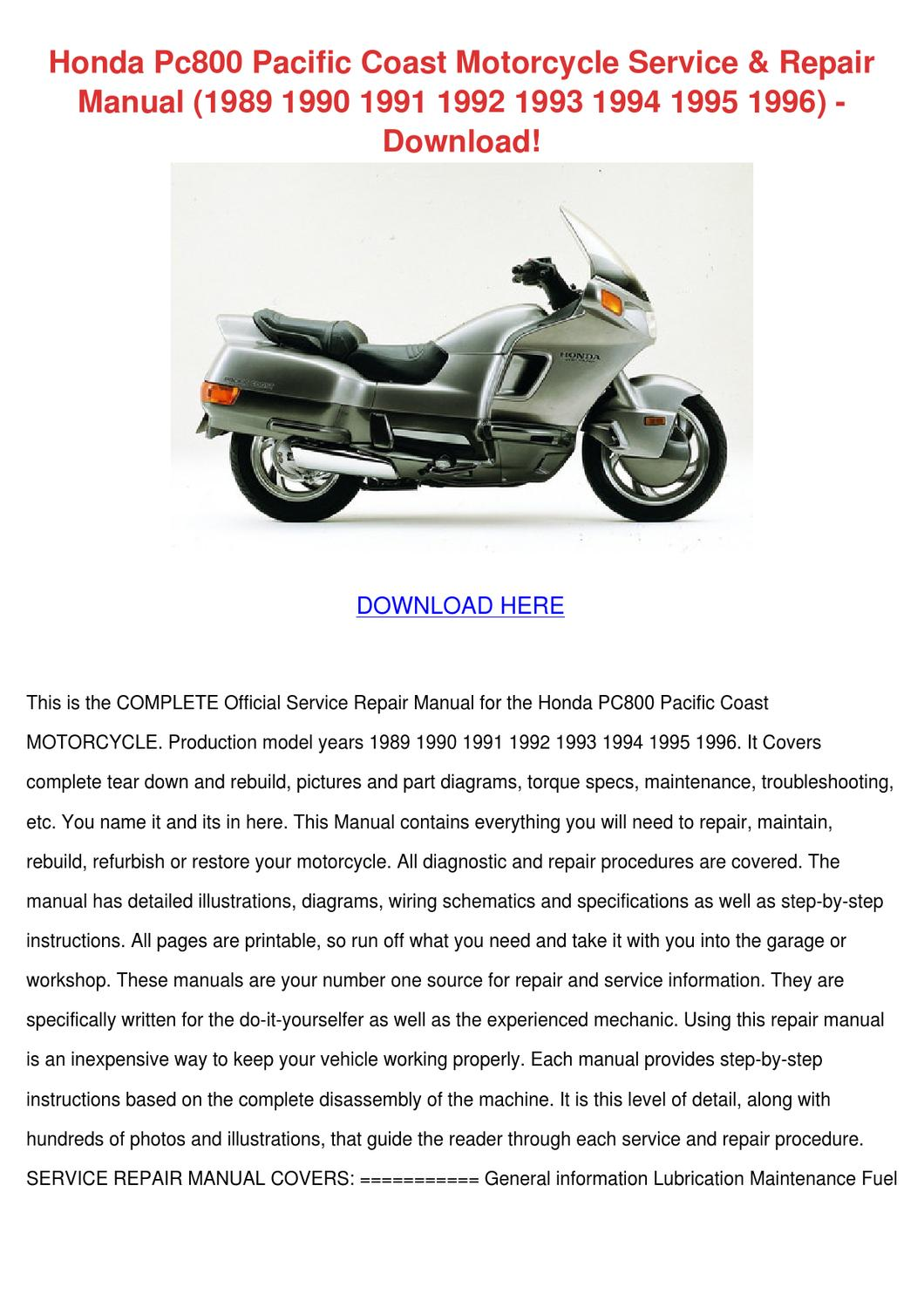 honda pc800 pacific coast motorcycle service by