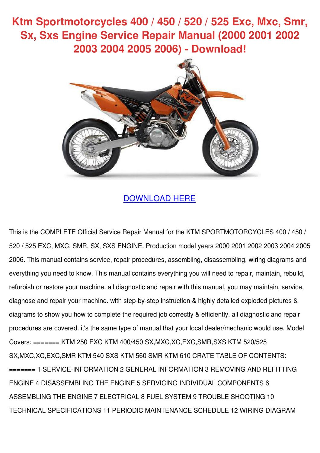 Ktm 450 Sx Service Manual 2004 Wiring Diagram 2003 125sx Sportmotorcycles 400 520 525 Exc Mxc By 125 2006