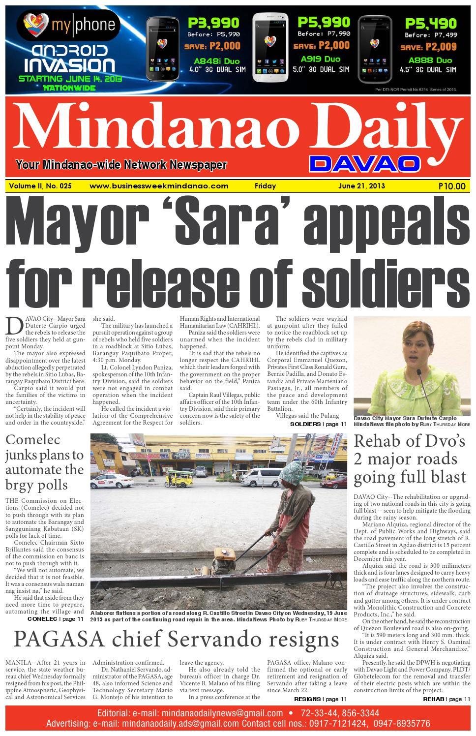 Mindanao Daily Davao (June 21, 2013) by Mindanao Daily News