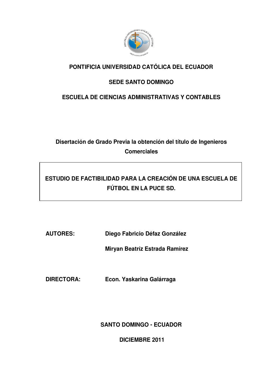Creación de una Escuela de fútbol en la PUCE SD by Pontificia ...