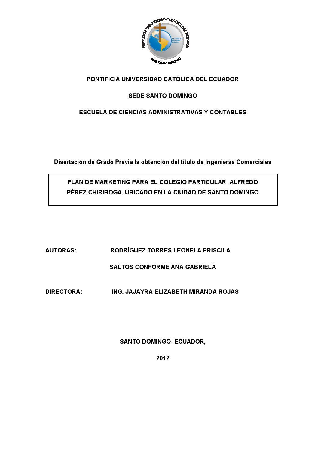 Plan de marketing para el Colegio Alfredo Pérez Chiriboga ubicado en ...