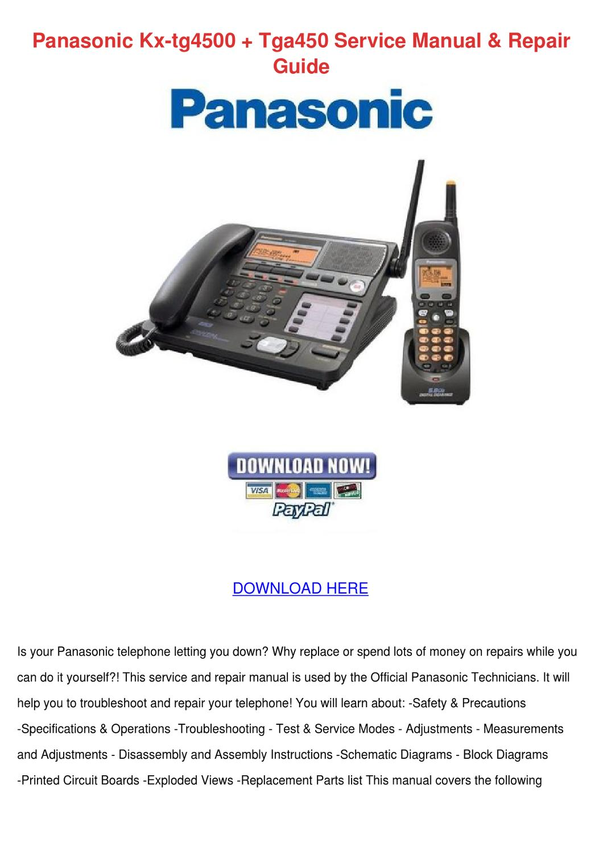 Panasonic Kx Tg4500 Tga450 Service Manual Rep By