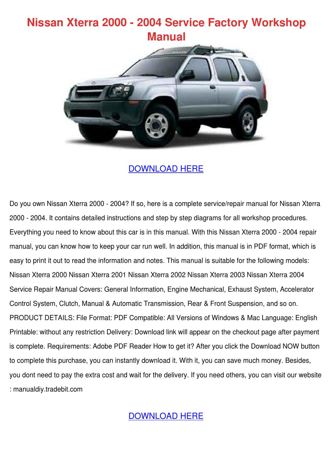 Nissan Xterra 2000 2004 Service Factory Works by VernitaSummers ...