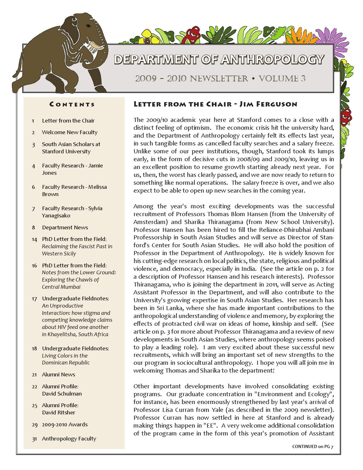 Anthropology Newsletter Volume 3 by Stanford Anthropology