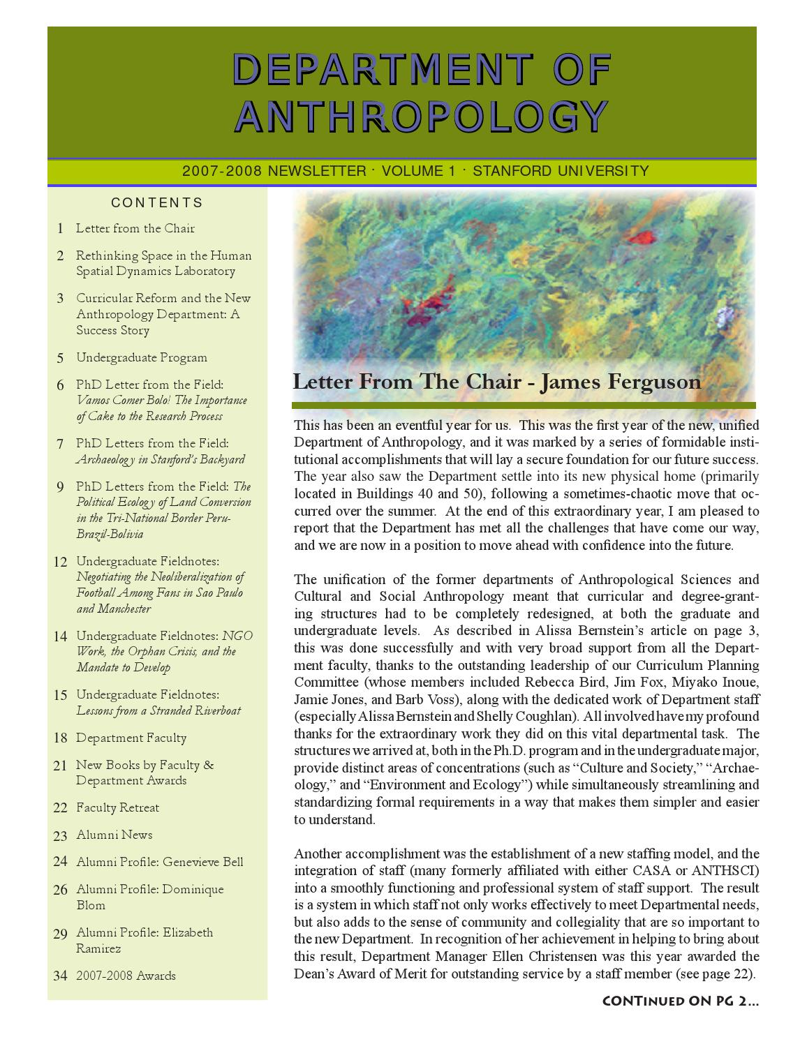 Anthropology Newsletter Volume 1 by Stanford Anthropology - issuu