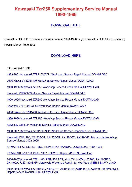 kawasaki zzr250 supplementary service manualterashelly — issuu. Download  Image 1060 X 1500