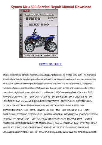 kymco mxu 500 off road atv service repair workshop manual download