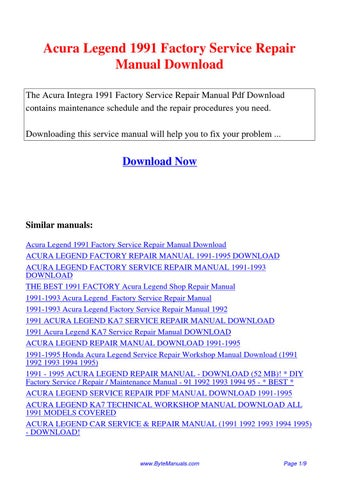 Acura Legend 1991 Factory Service Repair Manual By Huii