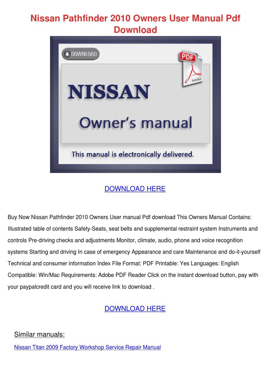 2010 nissan pathfinder service manual pdf