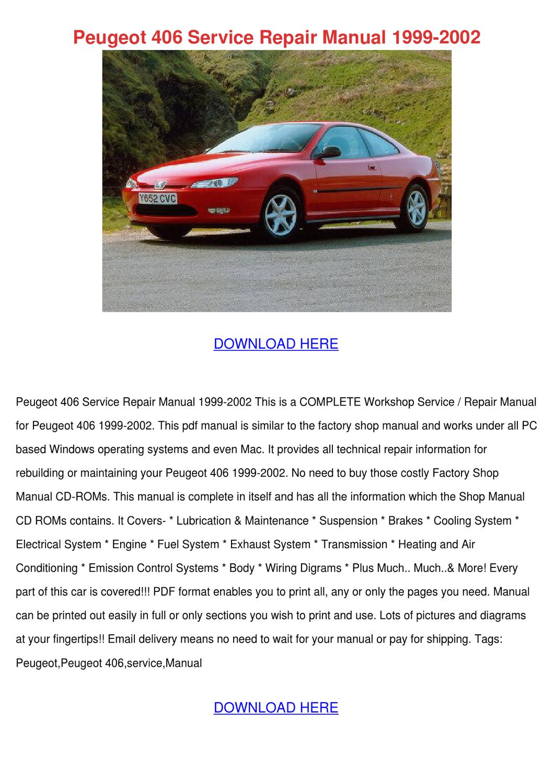Peugeot 406 Service Repair Manual 1999 2002 By Stewartosborne Issuu Wiring System
