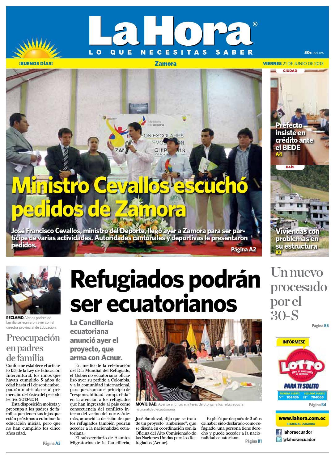 Diario La Hora Zamora 21 De Junio 2013 By Diario La Hora Ecuador  # Hazan Muebles Gavilan