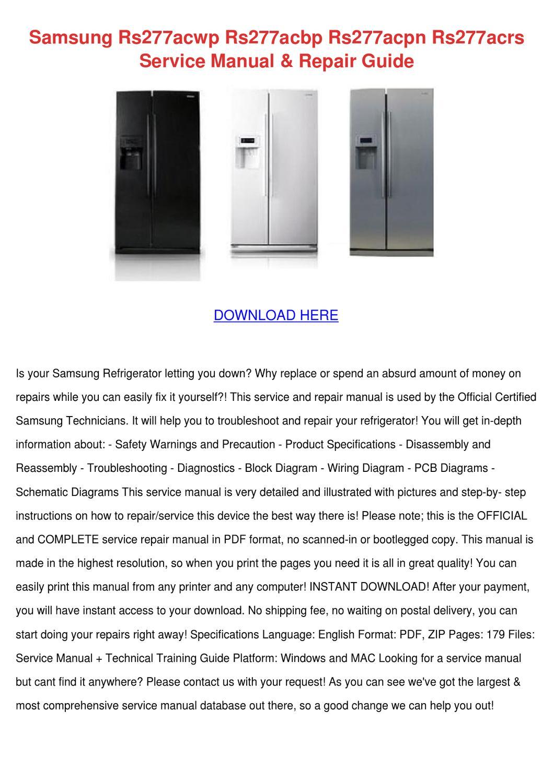 Samsung Rs277acwp Rs277acbp Rs277acpn Rs277ac By Stewartosborne Issuu Refrigerator Wiring Schematic