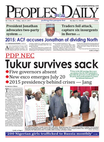 Peoples Daily Newspaper Friday 21 June 2013 By Peoples Media