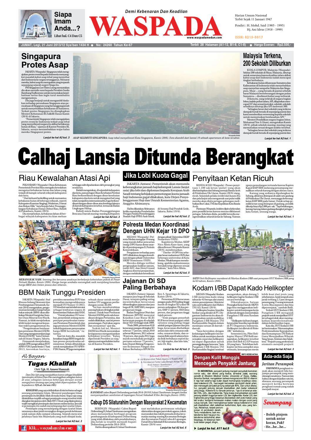 Waspada Jumat 21 Juni 2013 By Harian Waspada Issuu