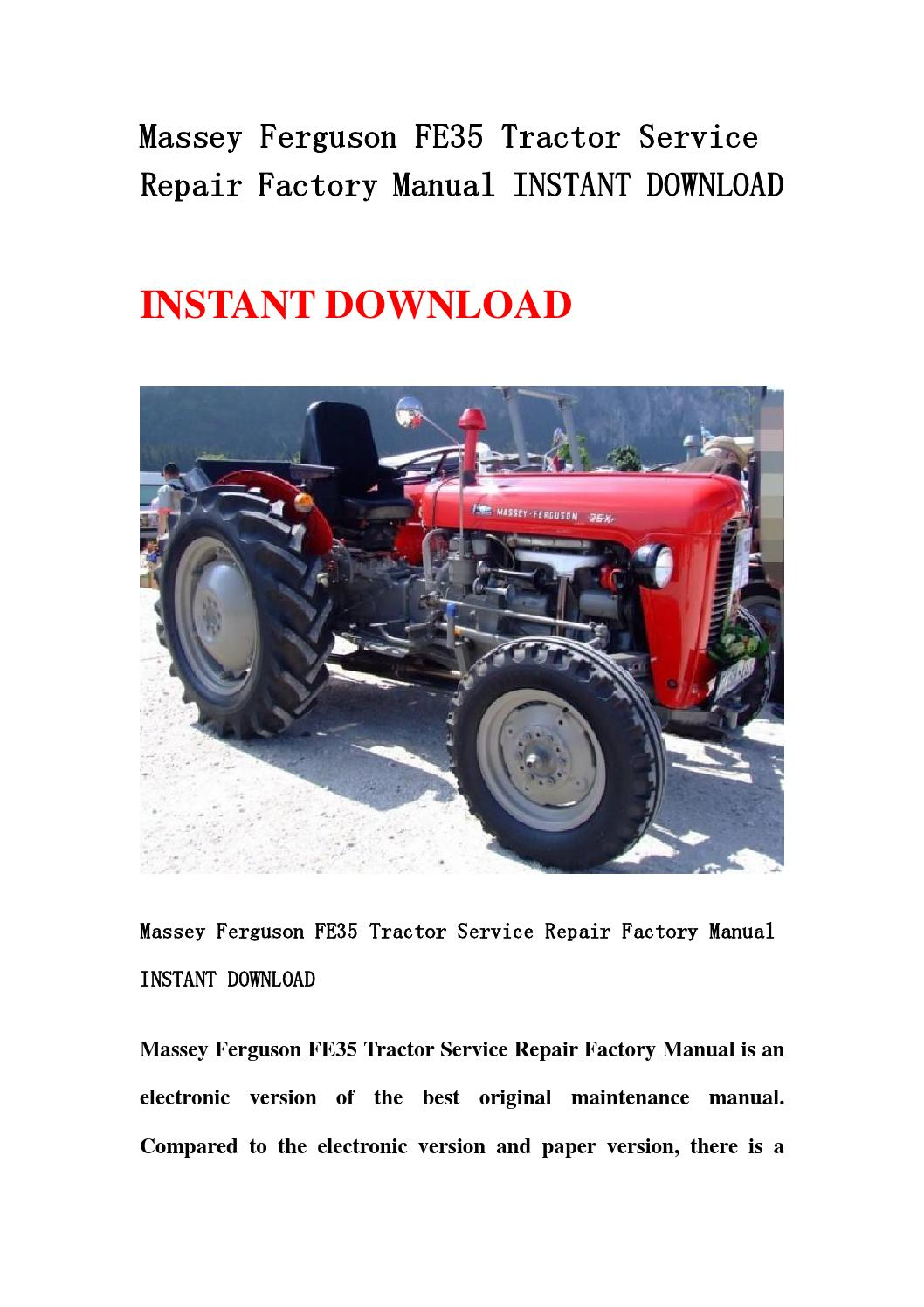 Massey Ferguson Tractor Troubleshooting : Massey ferguson fe tractor service repair factory manual