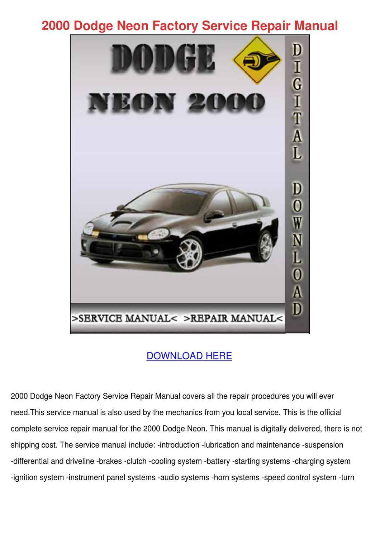 2000 Dodge Neon Factory Service Repair Manual By Mayamccormick