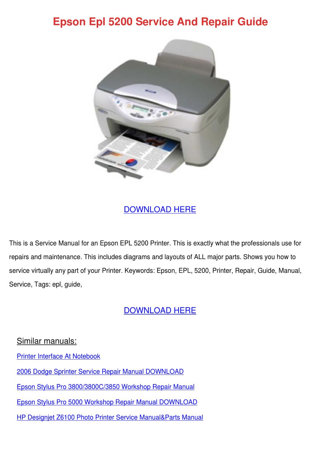 epson epl 5200 service and repair guide by clydebrackett Epson R2000 Epson R2400