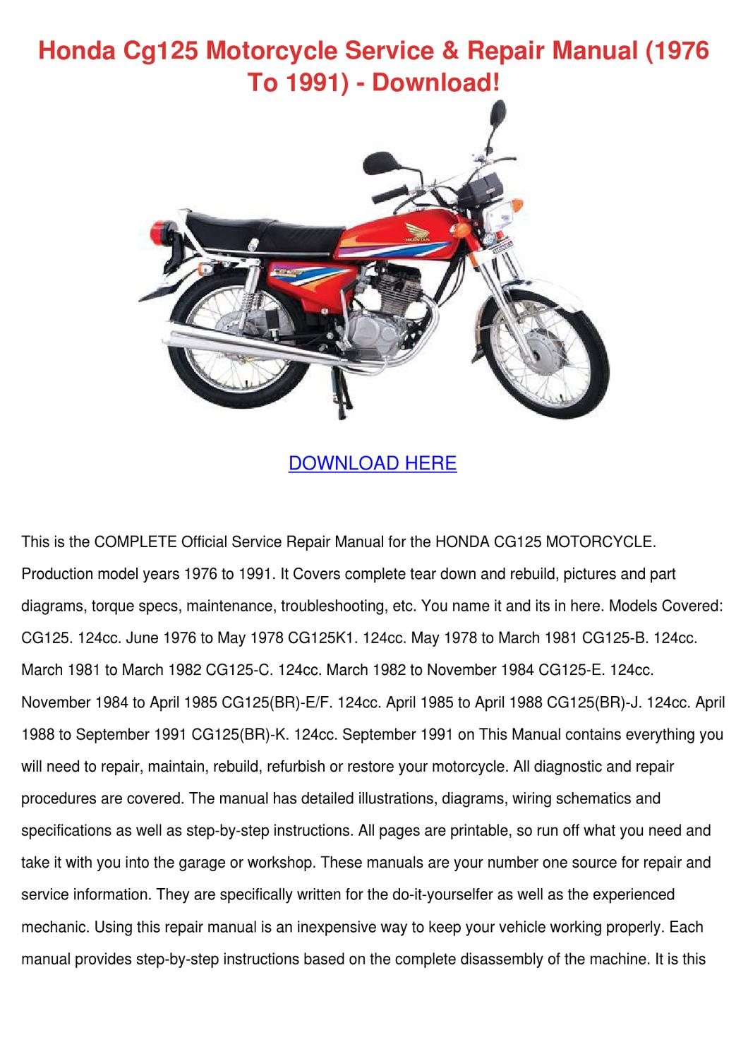 Honda Cg125 Motorcycle Service Repair Manual By