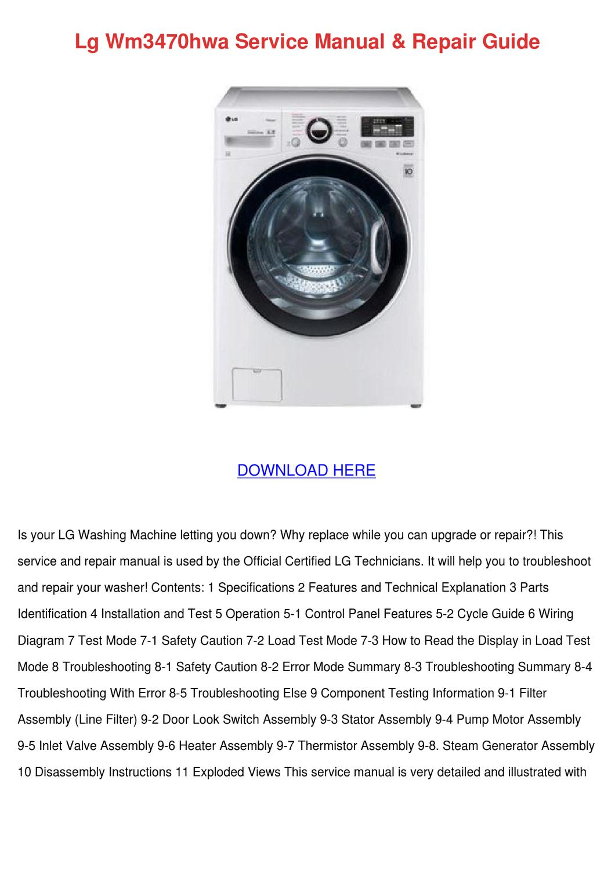 Lg Wm3470hwa Service Manual Repair Guide By Trinastark Issuu Washing Machine Circuit Diagram On Generator