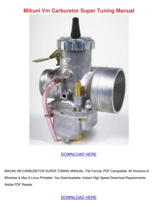Mikuni Vm Carburetor Super Tuning Manual by TrinaStark - issuu
