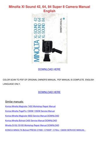 Konica Minolta di850 Service manual