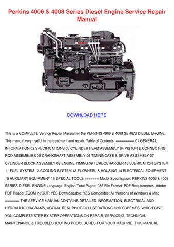 Perkins 4006 4008 Series Diesel Engine Servic by