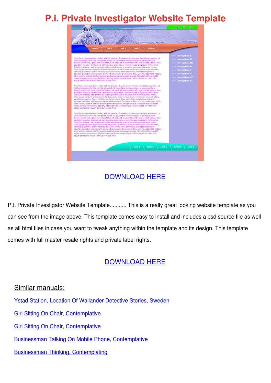pi private investigator website template by stephanschulz. Black Bedroom Furniture Sets. Home Design Ideas