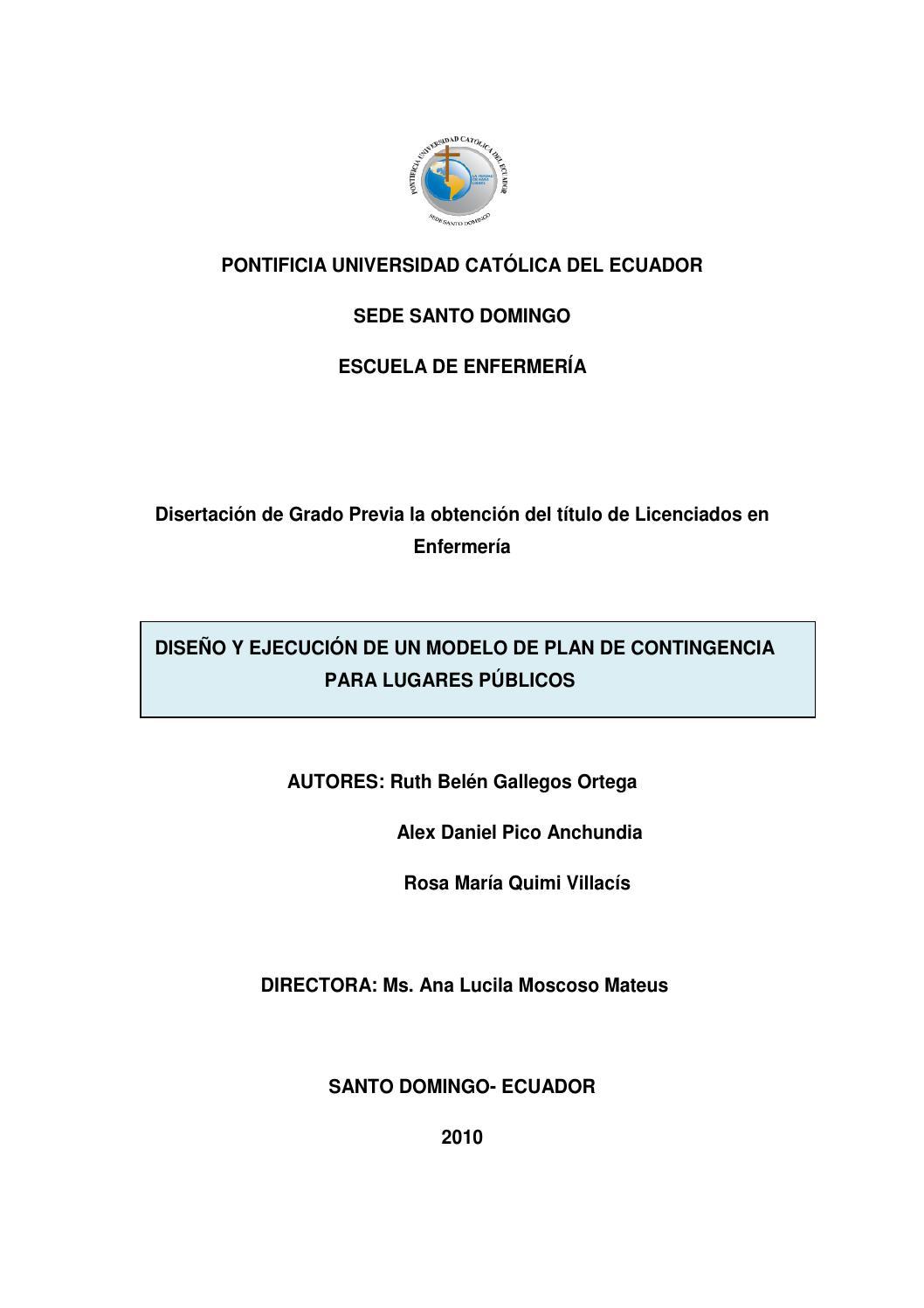 Modelo de plan de contingencia para lugares públicos by Pontificia ...
