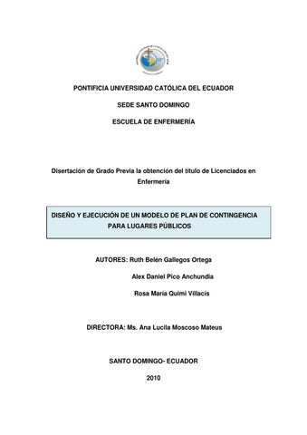 Modelo de plan de contingencia para lugares públicos by Pontificia ... 3a5490a3a7cb8