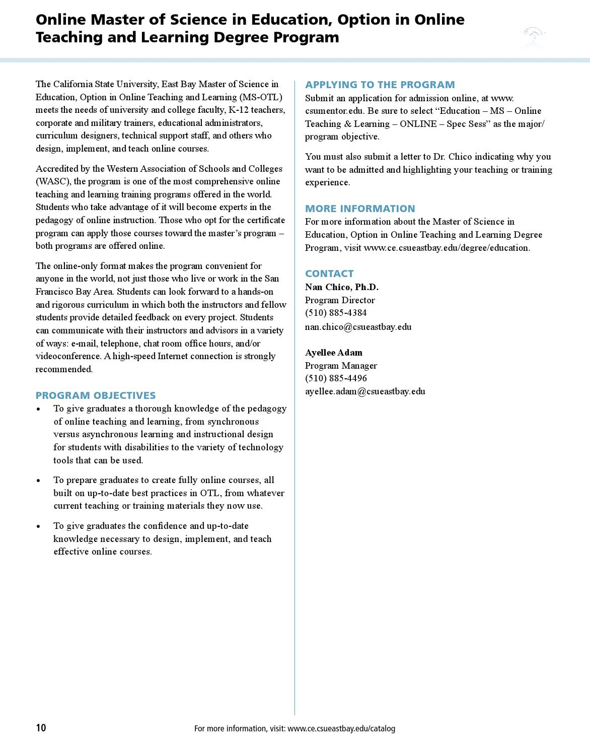 Cal State East Bay Continuing Education Annual Catalog 2012 13 By