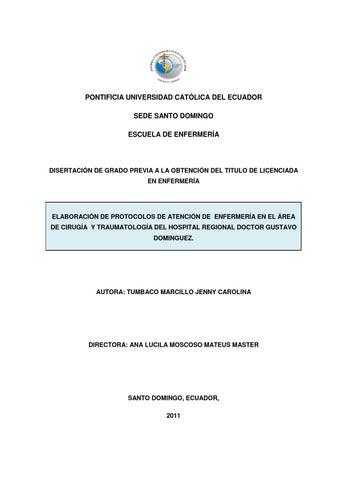 Protocolo de atención de Enfermería en Área: Cirujía y Traumatología ...