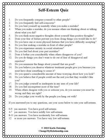 Quiz Self Esteem By Shalizamajid Issuu
