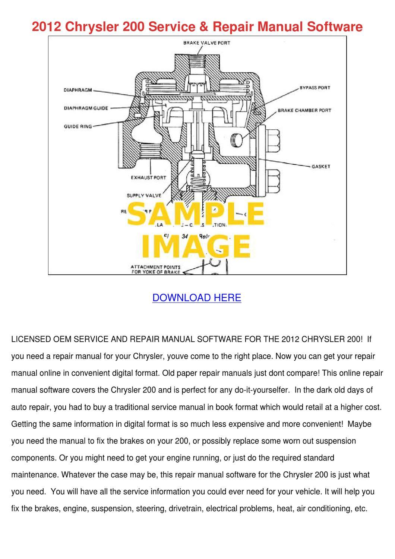 2012 Chrysler 200 Service Repair Manual Softw by MarcoMacklin - issuu