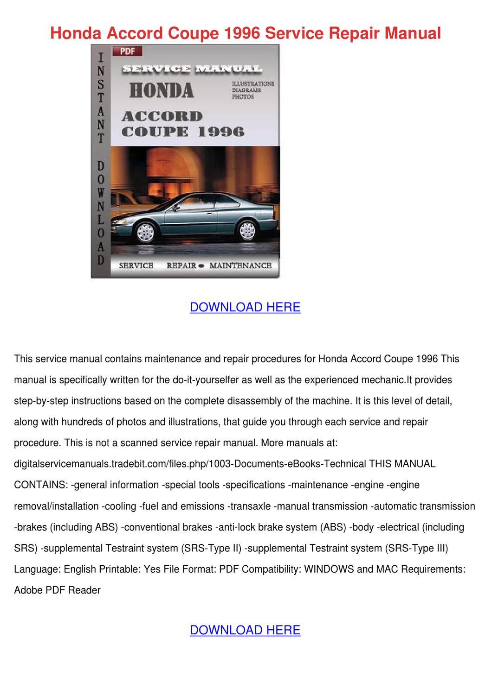 Honda Accord Coupe 1996 Service Repair Manual by AgnesValdez - issuu