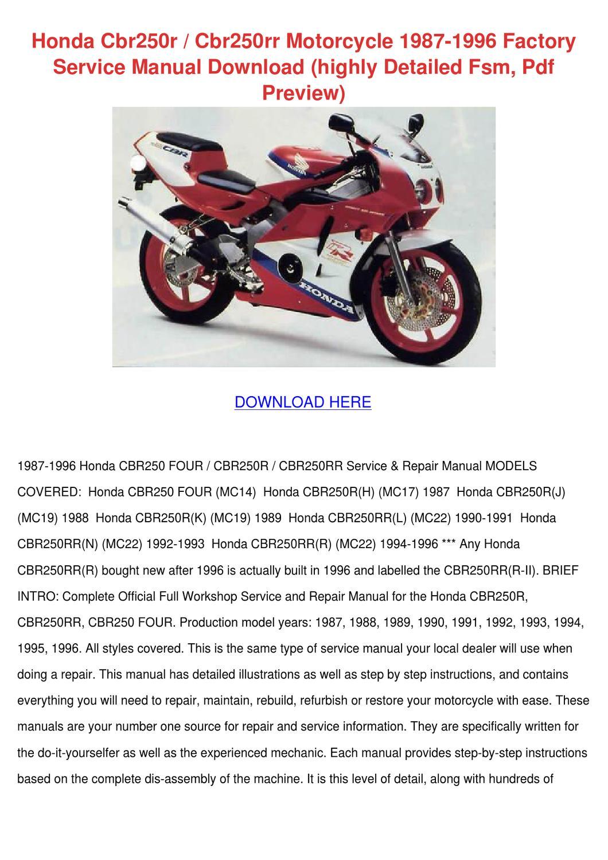Honda Cbr250r Cbr250rr Motorcycle 1987 1996 F By Agnesvaldez Issuu Cbr250 Wiring Diagram