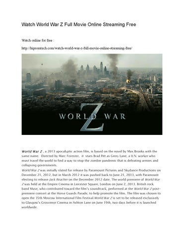 world war z free movie