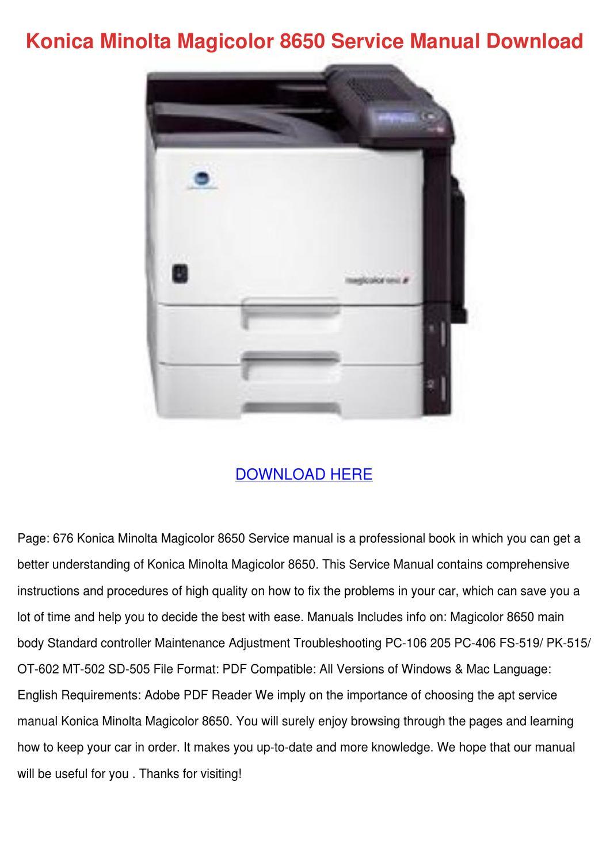 konica minolta magicolor 8650 service manual by agnesvaldez issuu rh issuu com Konica 7020 PageCount Konica 7020 PageCount
