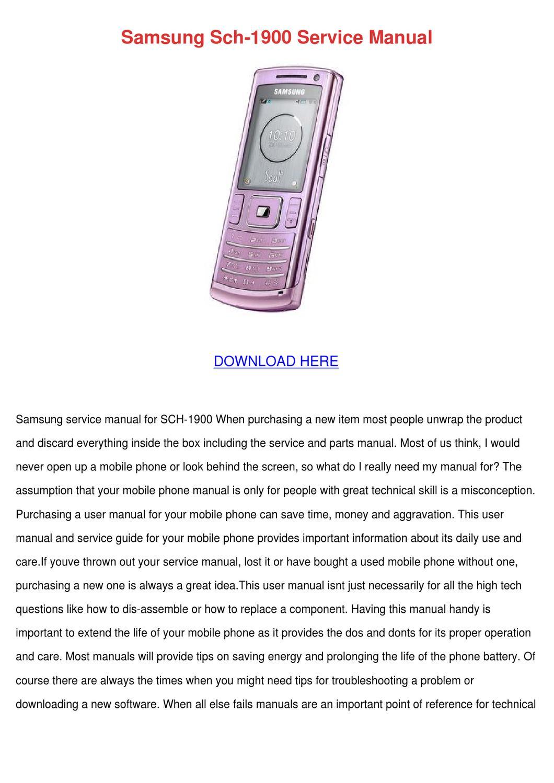 Samsung Sch 1900 Service Manual by PaulaNoll - issuu