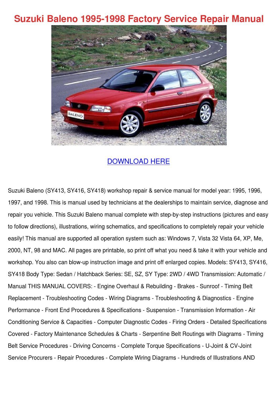 Suzuki Baleno 1995 1998 Factory Service Repai by PaulaNoll - issuu