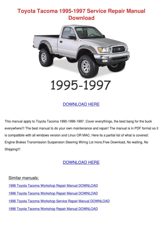 2011 toyota tacoma wiring manual toyota tacoma 1995 1997 service repair manual by ...