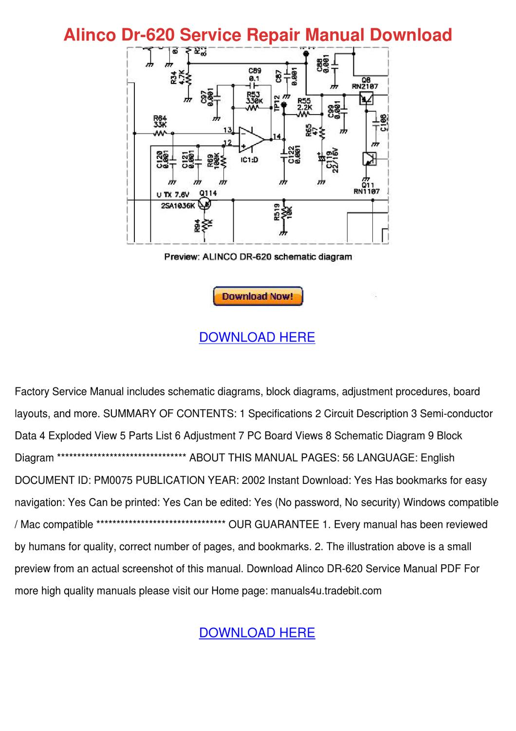 Alinco Dr 620 Service Repair Manual Download by KenHowes - issuu