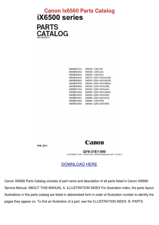 Canon Ix6560 Parts Catalog By Kenhowes Issuu Head