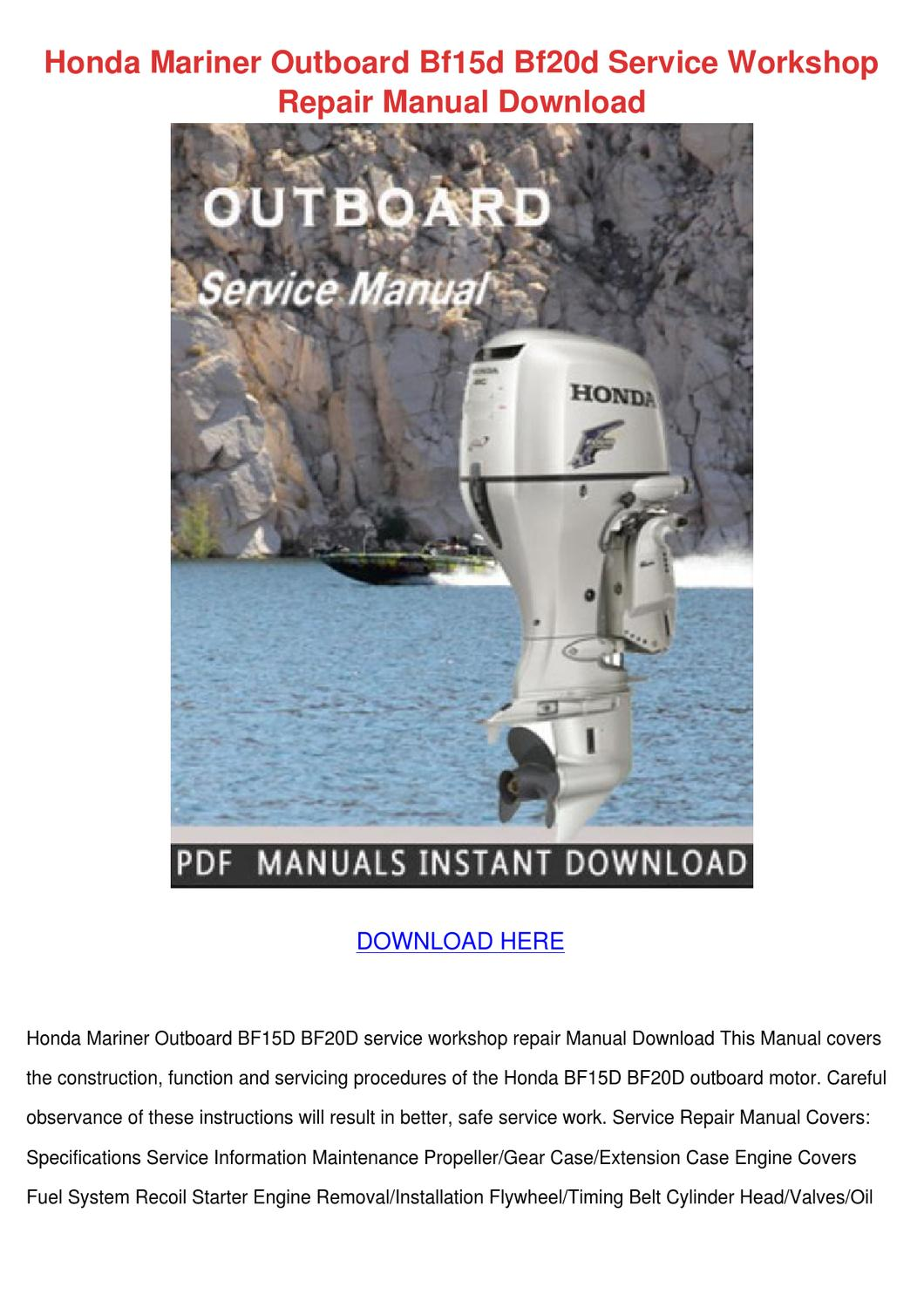 Honda Mariner Outboard Bf15d Bf20d Service Wo By