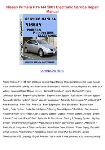 nissan primera p11 144 2001 electronic servic by. Black Bedroom Furniture Sets. Home Design Ideas